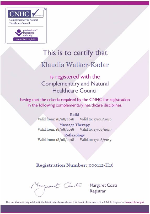 CNHC_Certificate_Reiki_refexology_Massage_Klaudia_Walker_Kadar