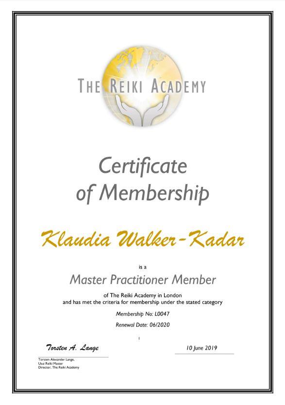 Reiki_Academy_Certificat_London_Klaudia_Walker_Kadar