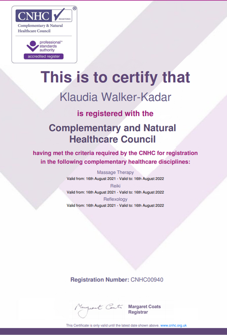 CNHC_Certificate_Reiki_refexology_Massage_Klaudia_Walker_Kadar._2019